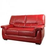 Canapé cuir rouge brique 2 places